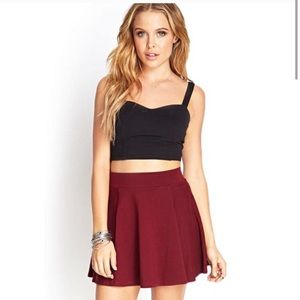Forever 21 Maroon Red A-line Midi Skirt Size L